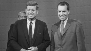 CHICAGO - SEPTEMBER 25: NIXON KENNEDY DEBATE John F. Kennedy, left, and Richard M. Nixon at the first televised presidential debate. (Photo by CBS via Getty Images)